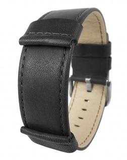 HIRSCH REBEL L | Uhrenarmband mit Unterlage, gleichlaufend, Leder Schwarz 31656