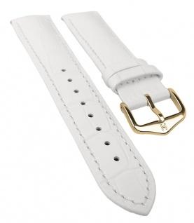 HIRSCH DUKE L | Uhrenarmband italienisches Leder / Alligatorprägung / Weiß 31017