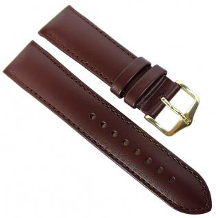 HIRSCH Uhrenarmband Leder braun mit Naht Kurze-Länge 36476