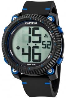 Calypso   Herrenarmbanduhr Quarzuhr Digitaluhr Kunststoffuhr mit Alarm Stoppuhr schwarz/blau K5731/2