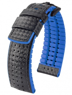 HIRSCH Performance | Uhrenarmband aus Leder/Kautschuk schwarz/blau Carbonoptik 30952B - Vorschau