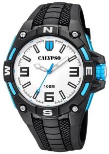 Calypso Herrenarmbanduhr Quarzuhr aus Kunststoff mit Silikonband Leuchtzeiger schwarz/blau K5761/1