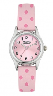 Adora Young Line | analoge Quarz Armbanduhr für Mädchen | PU-Band hellrosa / pink dots | 36147