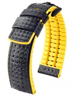 HIRSCH Performance | Uhrenarmband aus Leder/Kautschuk schwarz/gelb Carbonoptik 30949B