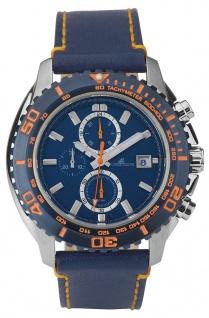 Adora Nautic Chronograph | Herrenarmbanduhr blaues Lederband | orange Akzente Ø 46mm 33288