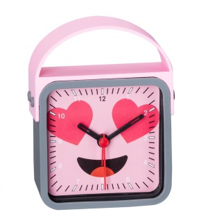 Wecker Kinderwecker Alarm Analog Kunststoff rosa-grau mit schleichende Sekunde