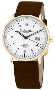 Herren Armbanduhr   Quarzuhr mit Datum   Lederband > braun   Ziffernblatt > weiß   36310