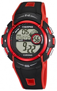 Calypso Herrenarmbanduhr Quarzuhr Kunststoffuhr digital mit Stoppfunktion Alarm Timer schwarz/rot K5610/5