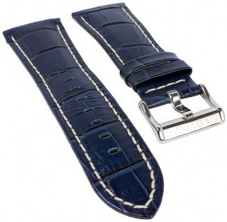 Lotus Watches | Uhrenarmband Leder Band dunkelblau mit Krokoprägung und heller Naht L15411/3