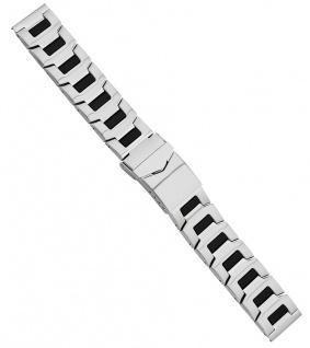 Minott Uhrenarmband Edelstahl/PVC silbern/schwarz matt