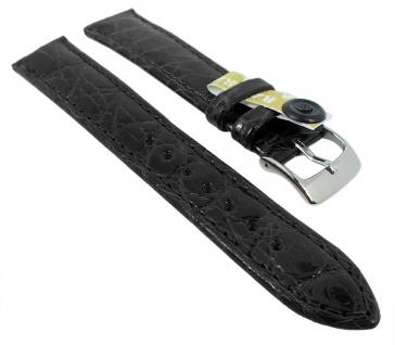 Ersatzband Uhrenarmband XL | echt Krokodil > Leder aus der Flanke | schwarz, glänzend 35445
