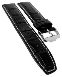 Jacques Lemans Chronograph Ersatzband 21mm Uhrenarmband Leder schwarz Band Kroko-Optik 40-6A 40-6