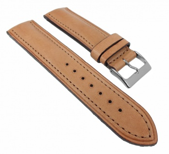 Uhrenarmband Oberseite Leder Unterseite Kautschuk Italo-Chrono hellbraun 24mm 28628