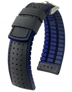 HIRSCH Performance | Uhrenarmband aus Leder/Kautschuk schwarz/blau Segeltuchoptik 30953S