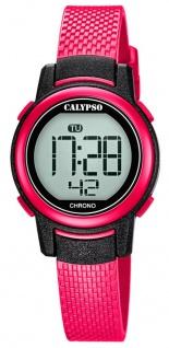 Calypso Kinderarmbanduhr Quarzuhr digital Kunststoffuhr pink mit Stoppfunktion Alarm Licht K5736/5