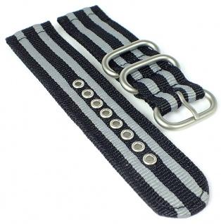 HIRSCH Uhrenarmband Textil schwarz/grau Zulu mit Dornschließe gleichlaufend