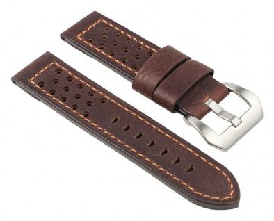 Uhrenarmband Leder Band, Braun, gelocht, atmungsaktiv 25789S
