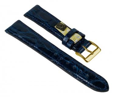 "Uhrenarmband XL "" Echt Krokodil"" Krokodilleder Band Blau 25914G-HXL"