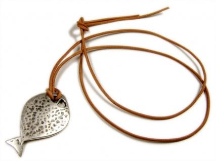 Minott Halskette - braunes Lederband + Fisch Anhänger MT-03829