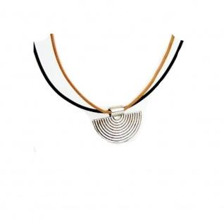Minott Halskette - braunes und schwarzes Lederband zum verknoten mit Halbkreis Anhänger 15084