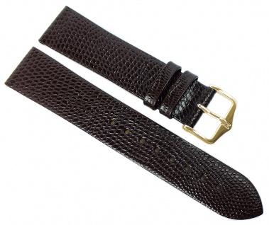 HIRSCH | Uhrenarmband > Leder, braun mit Eidechsenprägung > Dornschließe | Standard-Länge | 36406