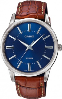 Casio Collection Analoguhr mit Lederarmband in braun MTP-1303PL-2AVEF