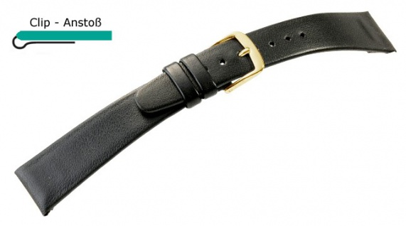Natina Uhrenarmband Leder Band mit Clip Schwarz - Normale Länge 23361G