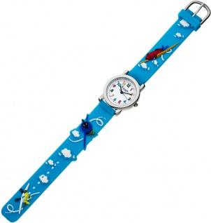 Eichmüller Kinderuhr analog Uhr blau Armbanduhr Edelstahl Silikon Flugzeugmuster