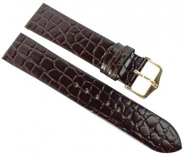 HIRSCH | Uhrenarmband > Leder, dunkelbraun mit Krokoprägung > Dornschließe | Standard-Länge | 36427