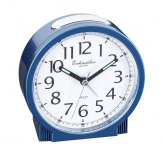 Wecker Reisewecker Alarm Analog Snooze Kunststoff blau rund mit schleichende Sekunde