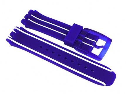 Swatch Wind Blocker Uhrenarmband Silikon Band Blau 19mm für New Chrono Plastic SUIS400
