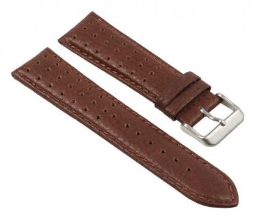 Uhrenarmband Leder Band, Braun, gelocht, atmungsaktiv 25787S