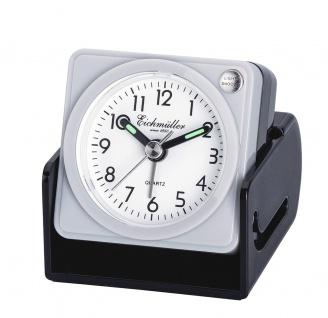 Wecker Reisewecker Alarm Analog Snooze Kunststoff grau eckig mit Schutzkappe