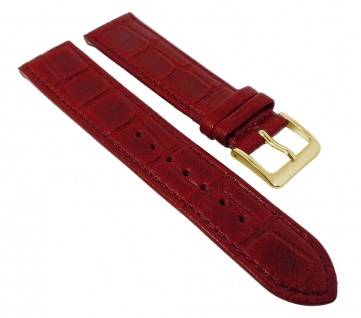 Minott Kroko Uhrenarmband | Naturleder mit Kroko Optik, rot mit Naht 30467