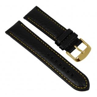 Minott Uhrenarmband Kalbsleder Band schwarz mit gelber Kontrastnaht 27446G