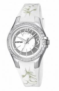Calypso Watches Armbanduhr Damenuhr Analoguhr 10 ATM mit Glitzersteinchen-Besatz K5624