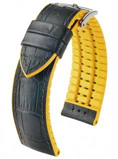 HIRSCH Performance | Uhrenarmband aus Leder/Kautschuk schwarz/gelb Allogatorprägung 30962S