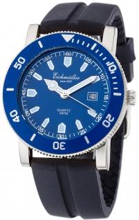 Herrenarmbanduhr   Quarz mit Datumsanzeige   Silikonband > schwarz   Ziffernblatt > blau   36442