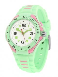 Alpha Saphir Kinder analog Uhr grün Armbanduhr 393C Kunststoff Quarz Silikonband