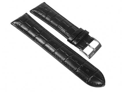 Hugo Boss Uhrenarmband Leder Band Schwarz 24mm für 1512385