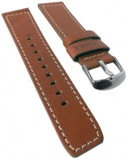 Timex | Ersatzband Uhrenarmband Leder Band braun 22mm mit heller Nath TW2P84300 TW2P84200 TW2P84100