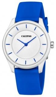 Calypso Damenarmbanduhr Quarzuhr Analoguhr Kunststoffuhr blau mit weichem Silikonband K5733/5
