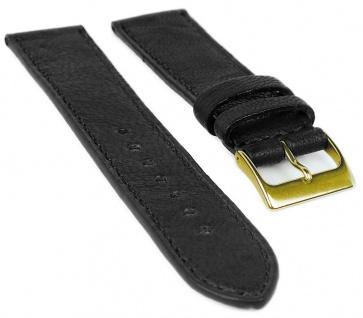 Herzog Piemont Uhrenarmband 22mm Leder schwarz Naht Band Dornschließe