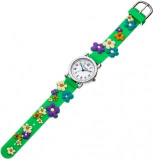 Eichmüller Kinderuhr analog grün Edelstahl Silikon bunte Blumenmotiv 34963