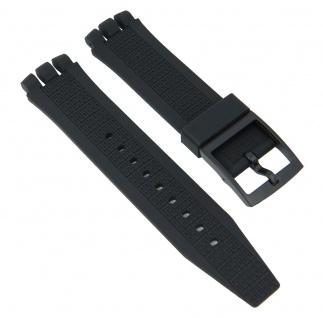 Minott Uhrenarmband Silikon Band Schwarz passend zu Swatch Irony 21 mm 27183