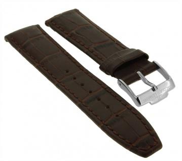 Jacques Lemans Uhrenarmband Ersatzband Leder mit Krokoprägung 20mm braun für 1-1845