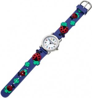 Eichmüller Kinderuhr analog Uhr violett Armbanduhr Edelstahl Silikon Marienkäfer