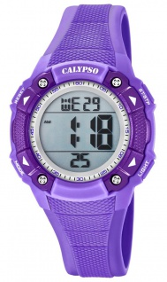 Calypso Damenarmbanduhr Quarzuhr Digitaluhr Kunststoffuhr mit Alarm Stoppfunktion lila K5728/5