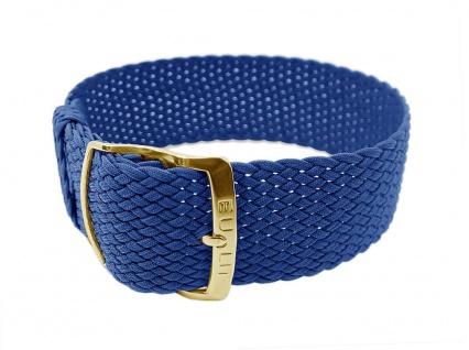 EULIT Uhrenarmband Perlonband | Durchzugsband blau in 20mm - 29011