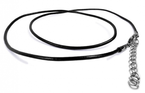Minott Leder-Band Kette Halskette Ø 2mm Länge 50cm schwarz 22238